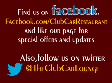Find the Club Car Restaurant located in Clive, Iowa on Facebook at Facebook.com/ClubCarRestaurant and like our page for special offers and updates and follow us on twitter @TheClubCarLounge.