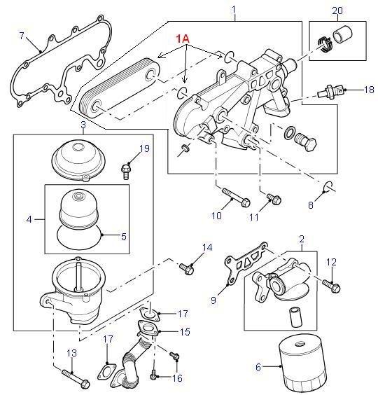 Land Rover Parts OIL COOLER OIL FILTER TD5 – Land Rover Td5 Engine Diagram