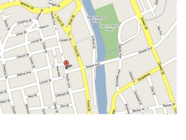 Map To Street Ministry In Front Of Borders Bookstore, Downtown Santa Cruz,  Pacific Garden Mall, Santa Cruz, CA.