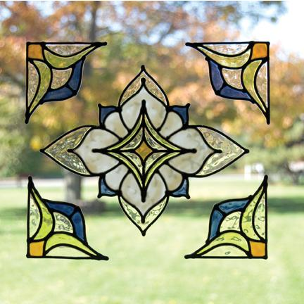 Sj home interiors and wall decor alden blue stained for Make your own stained glass window film