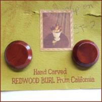 California Burl Wood Earrings Vintage Jewelry