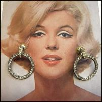 Art Deco Earrings 1950s Clear Swarovki Crystal Hoop Earrings