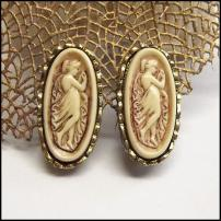Cameo Earrings Rare Elongated Glass Design 1950s Vintage Jewelry