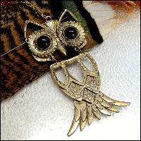 vintage owl necklace,vintage jewelry,1960s jewelry