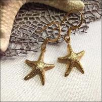 14kt GP Gold Starfish Earrings Petite Pierced Earrings