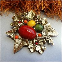 Designer Vintage Autumn Brooch Fall Leaf Pin