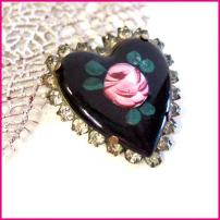 Antique Heart Pin French Guilloche Roses Brooch 1930s Vintage Jewelry