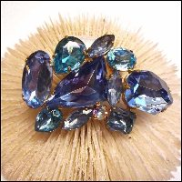 Aquamarine Blues Mosaic Glass Brooch West German Vintage Jewelry