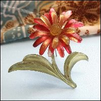 Antique Flower Pin Pink Celluloid Daisy Brooch 1930s Jewelry