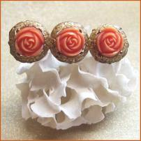 Antique Pin Carved Celluloid Coral Roses 1930s Victorian Jewelry