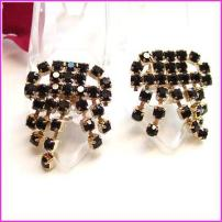 Black Glass Chandelier Vintage Shoe Clips 1950s Jewelry